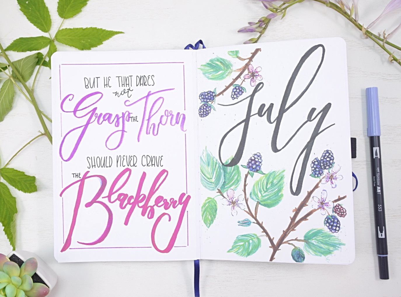 July 2021 Bullet Journal Quote Page